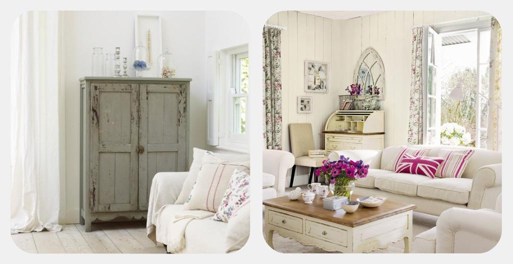 Arredamento shabby chic soggiorno retro 39 elegante bianco for Arredamento rustico elegante