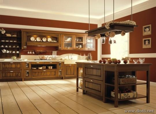 Arredamento cucina elettrodomestici mobili illuminazione - Cucina rustica con isola ...